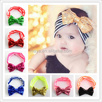 2016 The new children's hair Baby lovely sequined bow hair band elastic stripe cotton headband