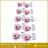 Stainless Steel Prong Set Pink CZ Crystal Jewelry Earrings