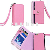 Elegant Zipper Case Wallet Hard Plastic Shell Credit Card Cell Phone Cases for iPhone 4 4S with Coin Pouch Purse