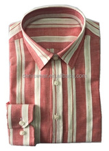 2017 New desgin breathable red and white stripes 100% linen casual men shirt