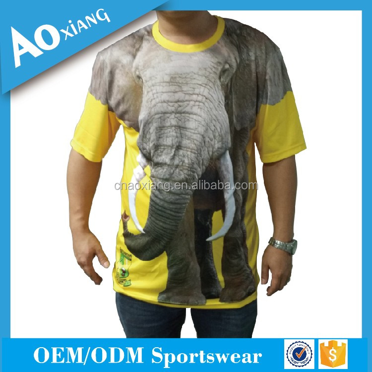 China factory custom o neck quick dry 3d printing elephant sublimation t shirt for men