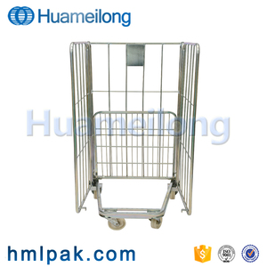 Foldable rigid steel roll pallet container