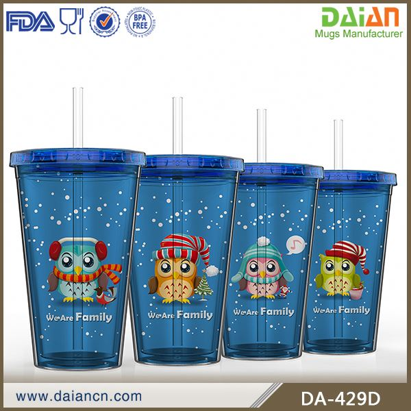 Double Wall Acrylic Tumbler With Straw And Insert Paper