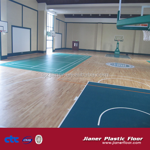 Indoor pvc sports flooring for removable basketball court floor with foam back
