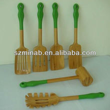 High quality wood head silicone handle kitchen utensil
