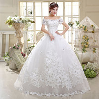Cap shoulder strap women lace princess bridal wedding dress 2016