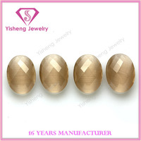 Amber stone synthetic oval egg shape both faceted cat eye stone wholesale gemstone price