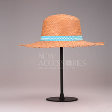 natural raw edge straw hat with dot blue band