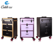 Fashion Rolling Multiple colors Aluminum trolley Cosmetic Case Makeup