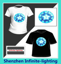High quality sound activated EL T-shirt/Ironman Flashing Sound Activated EL T-Shirt