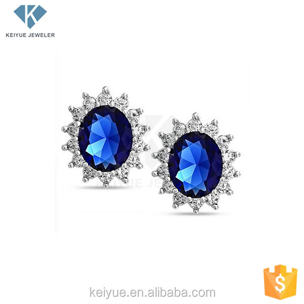 3AAA Oval Sapphire Prong Setting 925 sterling silver earrings