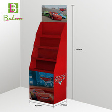 2 sides 3 tier red color advertising cartoon printing cardboard economic children story book/cd countertop floor display stand
