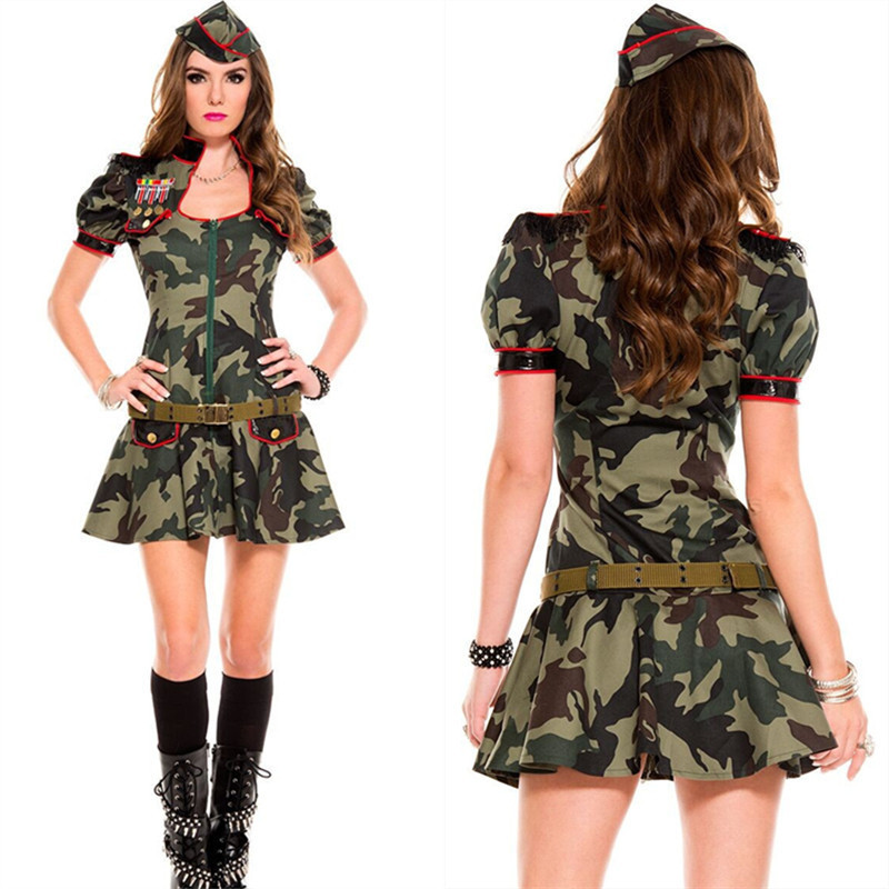 MOON BUNNY Army Green Cosplay Uniforms Adult Ladies Military Soldier Fancy Dresses 3piece Women's Halloween Themed Party Fantasi