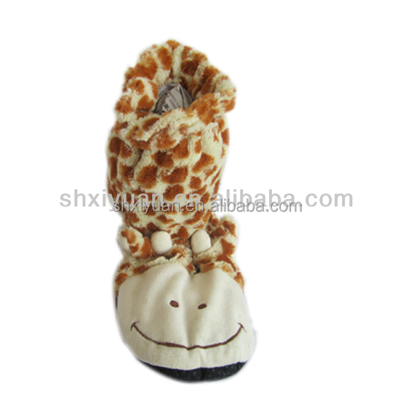 Novelty animated microwavable heated animal boot with lavander scent