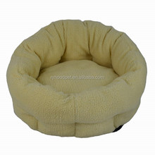 Low moq cheap Soft polyester plush round pet dog bed