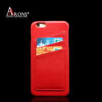 Design leather pulled over the edge back case with card slot cell phone back case for iphone6