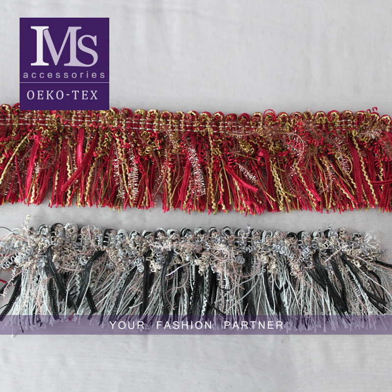 Good price 6cm width polyester gold yarn curtain fringe wholesale