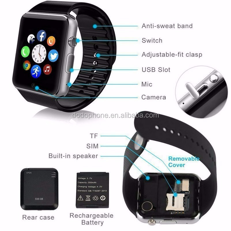 Bluetooth Mobile Phone GTo8 Smart Watch GT08 Plus Wifi Smart Watch GSM SIM Phone Mate For iPhone Samsung LG