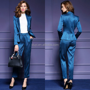 collar lady royal blue suits slim sexy career autumn new style sets