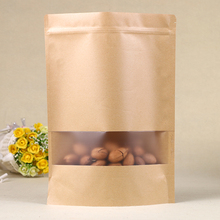 Brown craft zip lock stand up pouches for nuts foods kraft paper shopping bag with window paper bags kraft