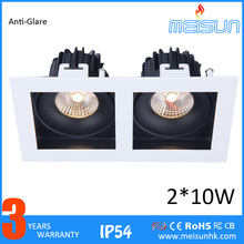 Double Head Square 20w Cob Led Downlight 2*10w Led Down Lighting Recessed Led Spotlight