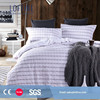 2015 Chinese factory Hampton Natural seersucker cotton strip ruffle duvet cover/fitted sheet