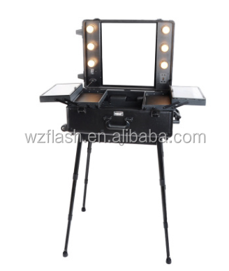 Professional Trolley Light Aluminium Makeup Case with Stand Legs