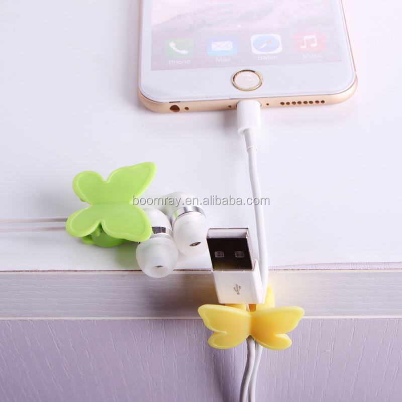 1 dollar Plastic adhesive tape butterfly cable holder mobile phone accessories charger