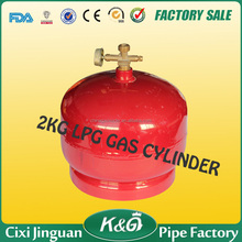 cixi jinguan SONCAP 2kg portable gas stove cylinders for camping cooker, small porpane cylinder export to India, America market