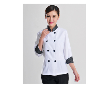 poly cotton female and mens hotel chef uniform long sleeve chef jacket in white red black