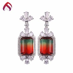 Wedding engagement 925 sterling silver earring synthetic tourmaline jewelry