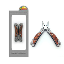 New design wood handle mini multi tools pliers with spring trigger
