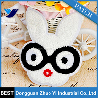 custom cute rabbit towel embroidery patch for the kids clothing