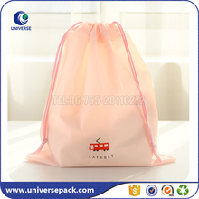 Lovely Pink Customized Nylon Fabric Drawstring Gift Bag With Logo