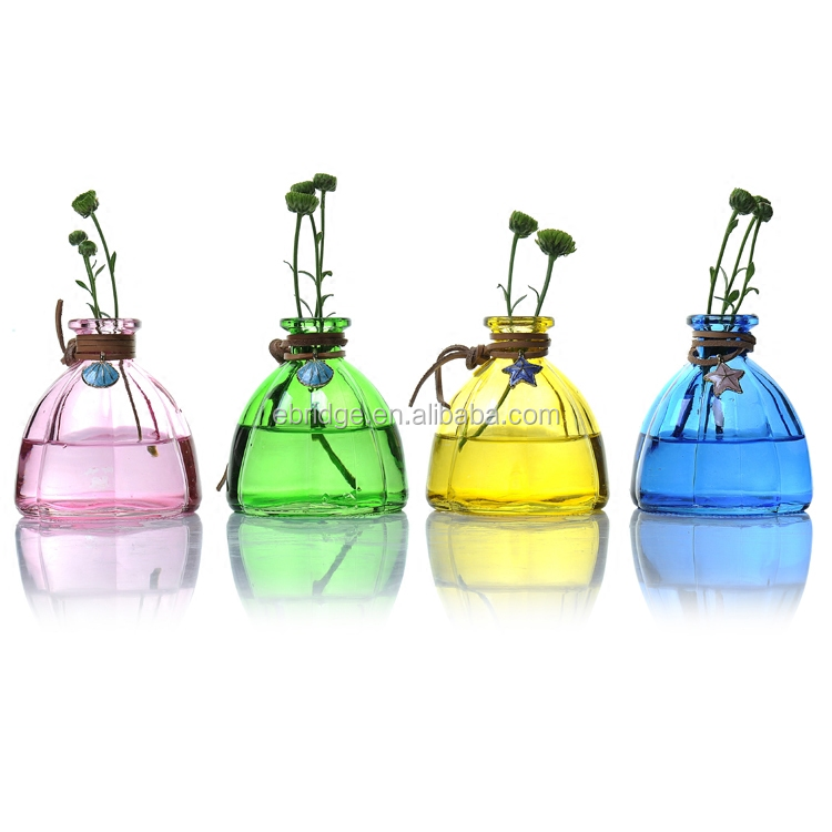 Tear Drop Shape Frosted Colored Glass Vases