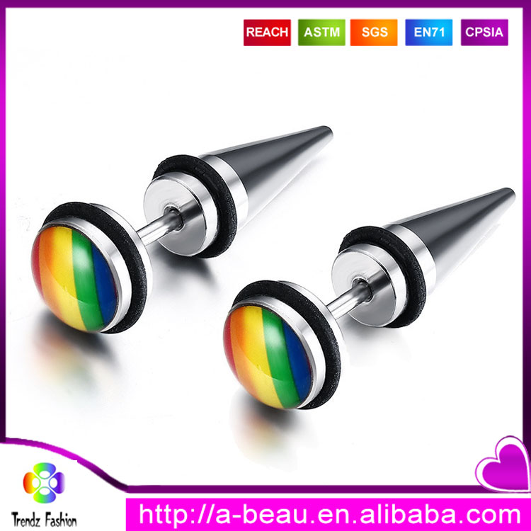 Wholesale LGBT Gay Pride Rainbow Piercing Jewelry Silver Stainless Steel Pierced Earrings
