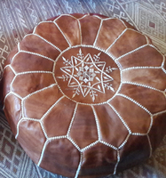 Hand stitched & embroidered Leather Ottoman /Morrocan Pouffe