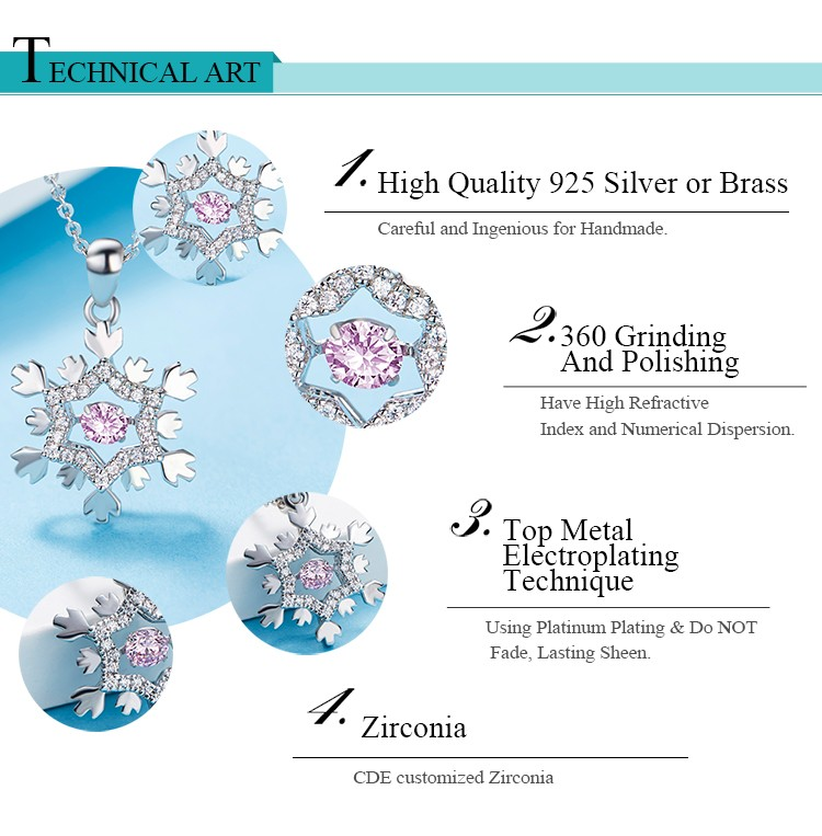 2017 fashion rhodium plating 925 sterling silver snowflake pendant cubic zirconia ball jewelry CZ dancing stone necklace