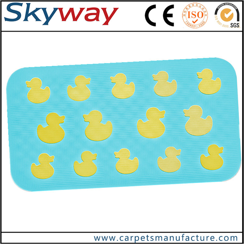 Eco-friendly antibacterial safety durable square plastic pvc bath mats