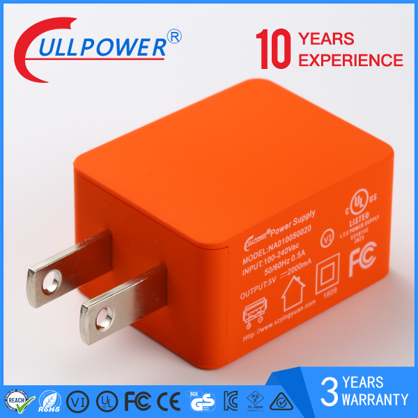 wall mount us plug usb charger 5v/2a ul approved ac power adapter 10w adaptor