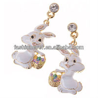 Spring Easter Jewelry Bunny with Easter Egg Basket Crystal Earring Gold Clear