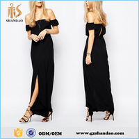 2016 Guangzhou shandao plain dyed chiffon fashion summer black off shoulder long evening dresses china