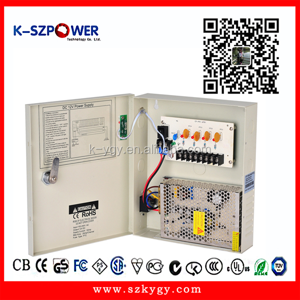 <strong>100</strong>-240v ac to dc cctv power box 60w 12v 5a 4 channels cctv camera power supply