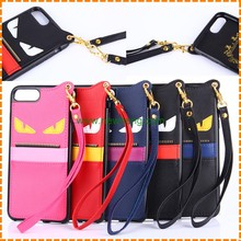 Luxury Cartoon little devil Card Slot Leather tpu Lanyard phone case for iphone7