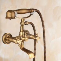 Antique Copper Two Handles Two Holes Handshower With Ceramic Valve Centerset luxury Wall Mounted Bathtub Faucet