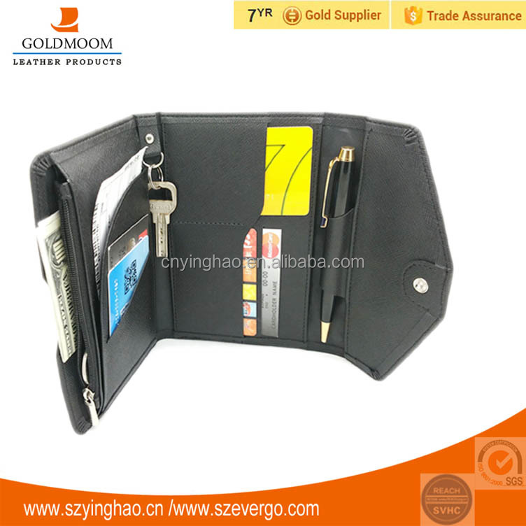 Leather travel wallet,travel organizer wallet with RFID blocking