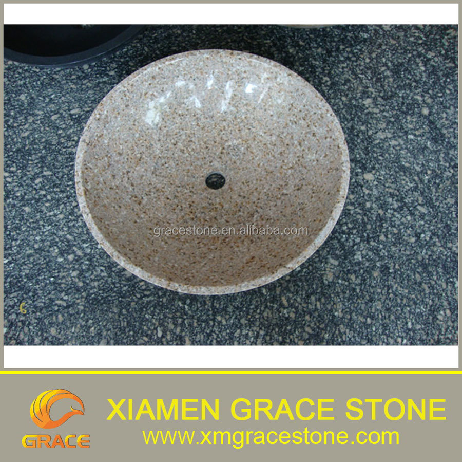 Round yellow granite G682 stone basin sink with single hole