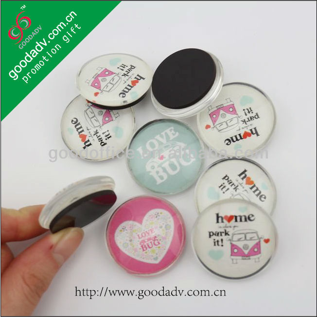2014 Hot promotional mini Rounded glass kids refrigerator magnets
