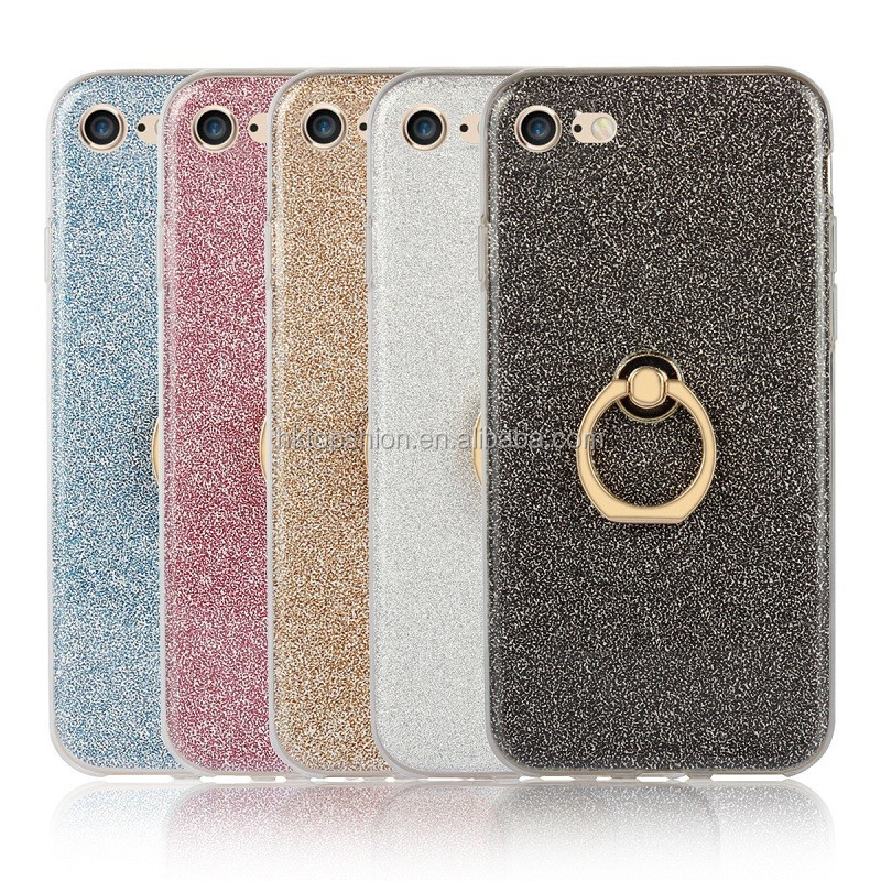 Wholesale price super slim glitter tpu case for iphone 7, for iphone 7 bling bling mobile case with ring holder
