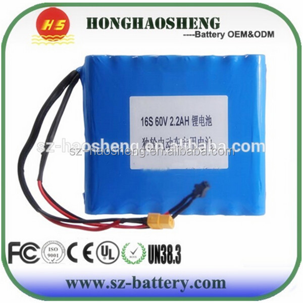 Wholesale 60V 2.2Ah Electronic Scooter Battery 60V 2.2Ah 18650 Lithium ion Battery Pack 2.2Ah 60V